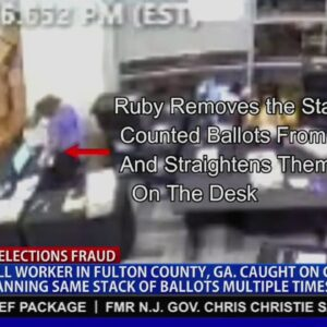 CAUGHT: Surveillance footage shows GA poll worker scanning the same batch of ballots MULTIPLE times!