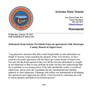Maricopa County Board Of Supervisors Suddenly Agrees To Comply With Subpoenas And Allow An Audit