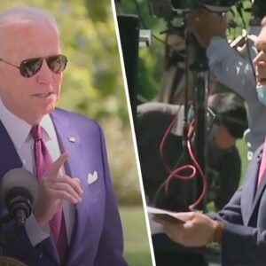 Biden STUNNED When Reporter Confronts Him on Wearing Mask Outdoors While Vaccinated