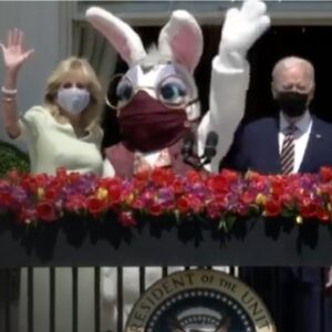 Internet ERUPTS When Easter Bunny Appears With Bidens Wearing a Mask