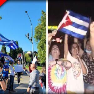 WATCH as Protesters STORM Florida Highway Demanding Biden Respond to Cuba